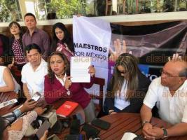 Xalapa, Ver., 25 de marzo de 2019.- Miriam López Cruz, coordinadora estatal de la asociación Maestros por México en Veracruz, aseveró que defenderán los derechos laborales de docentes afectados durante el sexenio pasado como consecuencia de la Reforma Educativa.