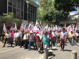 Xalapa, Ver., 26 de marzo de 2019.- Cardenistas marcharon por calles del centro de la ciudad.
