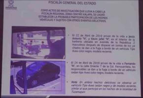 Xalapa, Ver., 21 de mayo de 2019.- El fiscal Jorge Winckler reveló que una cámara de seguridad capturó el ataque ocurrido en Tuzamapan, municipio de Coatepec. Relata cómo al sitio llegan un auto y una camioneta, de la cual descienden 4 sujetos armados. Luego, al huir, los sigue otra camioneta doble cabina que protegía a los homicidas.