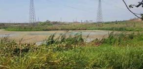 """Nanchital, Ver., 24 de mayo de 2019.- El cuerpo de agua conocido como """"laguna Stenavato"""" luce ahora sólo con algunos charcos."""