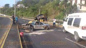 Xalapa, Ver., 16 de junio de 2019.- Accidente de dos vehículos en el bulevar Xalapa-Banderilla sobre el puente Macuiltépetl de la colonia Unidad Habitacional del bosque. Resultaron lesionadas dos personas.