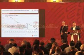 Ciudad de México, 26 de junio de 2019.- En Palacio Nacional, el presidente Andrés Manuel López Obrador y el director de PEMEX, Octavio Romero, indicaron que ya se recuperó la producción de crudo tras un descenso.