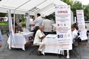 Xalapa, Ver., 26 de junio de 2019.- En el marco del Día Internacional de la Lucha contra el Uso Indebido y el Tráfico Ilícito de Drogas, los Servicios de Salud a través de la Comisión Estatal Contra las Adicciones, realizan campaña de atención en el Parque Juárez.