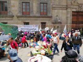 Ciudad de México, 23 de julio de 2019.- Campesinos de diversas organizaciones instalaron un plantón en el Zócalo para exigir la entrega de recursos por parte del Gobierno federal, a pesar de que la nueva política es entregarlo directo al productor y no a agrupaciones.