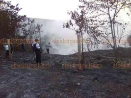 Papantla, Ver., 19 de agosto de 2019.- Agrupaciones policiales, cuerpos de emergencia y personal de Pemex extinguieron el incendio que se registró este fin de semana en la comunidad Reforma Escolín.