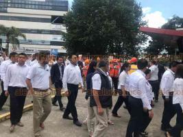 Xalapa, Ver., 19 de septiembre de 2019.- Realiza simulacro personal de la Dirección General de Tránsito y Seguridad Vial del Estado, como parte del Día Nacional de Protección Civil y en conmemoración de los sismos ocurridos en 1985 y 2017.