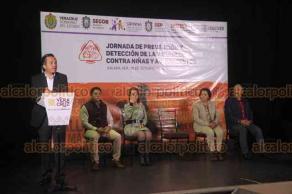 Xalapa, Ver., 18 de octubre de 2019.- En el Ágora de la Ciudad, el gobernador Cuitláhuac García inauguró la Jornada de Prevención y Detección de la Violencia contra Niñas y Adolescentes.