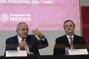 Ciudad de México, 10 de diciembre de 2019.- El canciller Marcelo Ebrard y el subsecretario para América del Norte, Jesús Seade, quien explicó las negociaciones del acero y sus reglas de origen, a aplicarse 7 años en el T-MEC. Esperan la aprobación antes del 20 de diciembre.