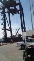 Veracruz, Ver., 13 de diciembre de 2019.- Una estructura de aproximadamente 4 metros de altura se desplomó en la terminal Internacional de Contenedores Asociados de Veracruz, al interior del recinto portuario, muriendo al menos un trabajador.