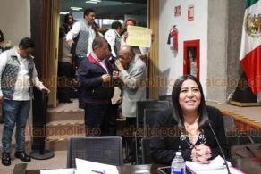 Xalapa, Ver., 22 de enero de 2020.- La presidenta de la CEAPP, Ana Laura Pérez Mendoza, compareció ante la Comisión de Atención y Protección de Periodistas del Congreso del Estado.