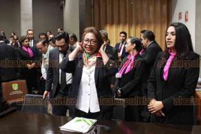 Xalapa, Ver., 24 de enero de 2020.- La auditora general del Órgano de Fiscalización Superior, Delia González Cobos, acudió ante diputados de la Comisión de Vigilancia del Congreso del Estado, cerrando las comparecencias de organismos autónomos de la entidad.