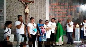 """Coatzintla, Ver., 16 de febrero de 2020.- """"Hemos sembrado amor por toda la República Mexicana"""", dijo la señora María Herrera, en la iglesia de San Judas Tadeo, al concluir la marcha de la V Brigada Nacional de Búsqueda de Personas. En su mensaje, los brigadistas dijeron buscar concientizar a las personas para lograr un cambio en la sociedad, encontrar la paz y vivir tranquilos."""
