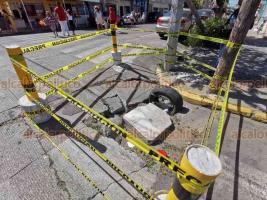 Veracruz, Ver., 25 de febrero de 2020.- En la esquina de las calles Díaz Aragón y Xicoténcatl hay un socavón porque se fracturó el asfalto. Ciudadanos piden a Obras Públicas atender antes de que se haga más grande y calle o viviendas cercanas puedan dañarse.