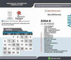 La Comisión Municipal de Agua Potable y Saneamiento de Xalapa publica 3 calendarios de tandeo para el mes de abril. Destaca la aplicación de 2 días de servicio por 2 días sin servicio para los Macro Sectores 1 y 2.