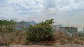 Medellín de Bravo, Ver., 29 de mayo de 2020.- Se registra incendio de pastizal en la localidad de Alvaradito, sobre el camino Herón Proal. Habitantes temen que por la intensidad del viento, el fuego se propague a sus viviendas.