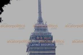 Ciudad de México, 2 de julio de 2020.- La Torre Latinoamérica muestra un mensaje en su pantalla: