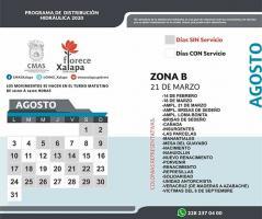 Xalapa, Ver., 3 de agosto de 2020.- CMAS en Xalapa publicó su calendario de tandeos con motivo de la temporada de estiaje, detallando los días en que se cortará el servicio por sectores y subsectores en la ciudad.