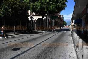 Xalapa, Ver., 15 de agosto de 2020.- Por decreto, cierran nuevamente principales calles y avenidas de Xalapa para evitar aglomeraciones que lleven a más contagios de COVID-19.