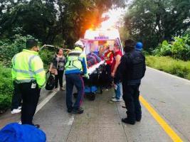 Coatepec, Ver., 18 de septiembre de 2020.- Un motociclista resultó lesionado tras colisionar contra árbol que cayó sobre la carretera a Jalcomulco, a la altura de la localidad Tuzamapan. Bomberos atendieron al herido y lo trasladaron a hospital.