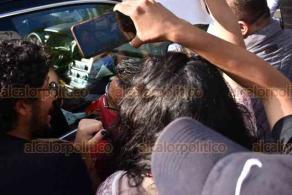 Xalapa, Ver., 26 de septiembre de 2020.- Manifestantes con diversas peticiones se reunieron afuera del Museo de Ciencia y Tecnología Kaná, en la espera del presidente Andrés Manuel López Obrador para exigirle solución.
