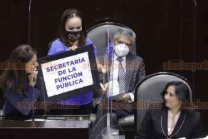 Ciudad de México, 27 de octubre de 2020.- La secretaria de la Función Pública, Eréndira Sandoval, compareció en la Cámara de Diputados entre señalamientos de opacidad, conflicto de intereses y por su inacción para sancionar la violación a la huelga del personal de Notimex.