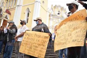 Xalapa, Ver., 29 de octubre de 2020. Cafetaleros se pronunciaron contra el proyecto de decreto presidencial de la SADER que mantendría el uso del glifosato en el país, acusando además que han sido desplazados por transnacionales como Nestlé.
