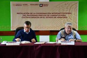 Xalapa, Ver., 30 de octubre de 2020.- El delegado Manuel Huerta y el subsecretario de Alimentación y Competitividad de la SADER, Víctor Suárez Carrera, encabezaron la instalación de la Coordinación Interinstitucional del Programa Precios de Garantía para Cultivos Básicos.
