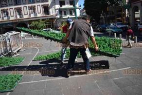 Xalapa, Ver., 24 de noviembre de 2020.- Este martes, personal del Gobierno Estatal comenzó a armar la estructura del árbol navideño que año con año se instala en la plaza Lerdo.