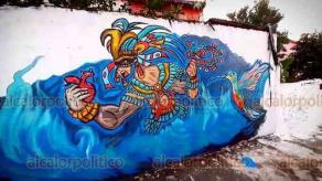 Tuxpan, Ver., 15 de enero de 2021.- Jorge Pablo Iturbide, seleccionado para representar a México en la Bienal Internacional de Arte en Cuba, busca en sus murales compartir leyendas ancestrales, en especial de los tének o huastecos y mayas.