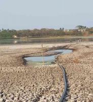 """Actopan, Ver., 14 de marzo de 2021.- Lector alerta por el """"desastre natural"""" que ocurre con la laguna del Farrallón por la desecación ante la pérdida de agua."""