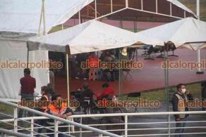 Xalapa, Ver., 20 de abril de 2021.- Sin largas filas se observó el segundo día de vacunación en el Estadio Xalapeño y el Parque Deportivo Colón donde se aplica la segunda dosis de la vacuna a adultos mayores.