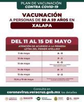 """Xalapa, Ver., 13 de mayo de 2021.- El Gobierno de Veracruz informó que este viernes 14 de mayo, para la jornada de vacunación en Xalapa para personas de 50 a 59 años, """"las colonias programadas para la sede del COBAEV 35 deberán asistir a edificio El Olmo""""."""