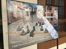 Xalapa, Ver., 15 de junio de 2021.- En el pasillo de Palacio de Gobierno, a partir de este martes y hasta el jueves estará una exposición fotográfica del Ejército celebrando el 55 aniversario del inicio del Plan DN-III-E.