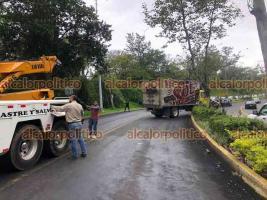Xalapa, Ver., 15 de junio de 2021.- En la avenida Murillo Vidal, a la altura de El Tejar, el camión de una cervecera chocó contra un árbol y lo derribó. El conductor perdió el control cuando iba hacia Lázaro Cárdenas, no hubo lesionados.