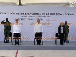 Xalapa, Ver., 25 de julio de 2021.- El presidente Andrés Manuel López Obrador, acompañado del gobernador Cuitláhuac García Jiménez inauguró el nuevo cuartel de la Guardia Nacional en la capital del estado.