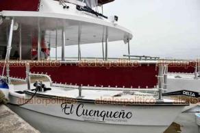 Alvarado, Ver., 30 de julio de 2021.- Un catamarán —embarcación de alta estabilidad debido a sus dos cascos— recorrerá el río Papaloapan. Este viernes, El Cuenqueño hizo su primer recorrido al que asistió el gobernador Cuitláhuac García Jiménez, y Eric Cisneros, titular de SEGOB.