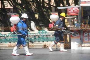Xalapa, Ver., 2 de agosto de 2021.- Como cada lunes, personal de Protección Civil Municipal desinfectó casetas y puestos de los comerciantes, así como otras áreas del parque Juárez.