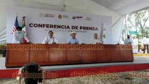 Coatzacoalcos, Ver., 19 de octubre de 2021.- Conferencia de prensa del gobernador Cuitláhuac García con el embajador de Estados Unidos, Kenneth Salazar, en API.