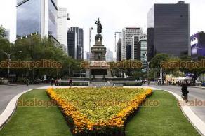 Ciudad de México, 24 de octubre de 2021.- En la Feria de las Flores de Cempasúchil en Paseo de la Reforma se ofrecen diversas variedades de la flor de cara al Día de Muertos y artesanías. Las flores adornan la avenida.